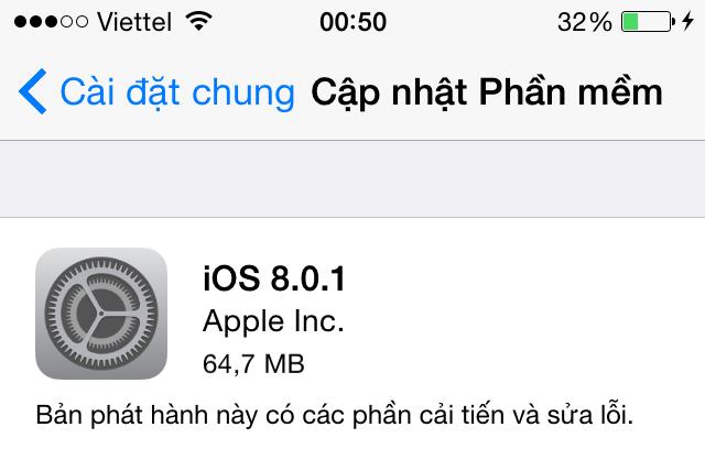 Phiên bản cập nhật iOS 8.0.1 vừa đến với người dùng rạng sáng ngày 25/9 theo giờ Việt Nam