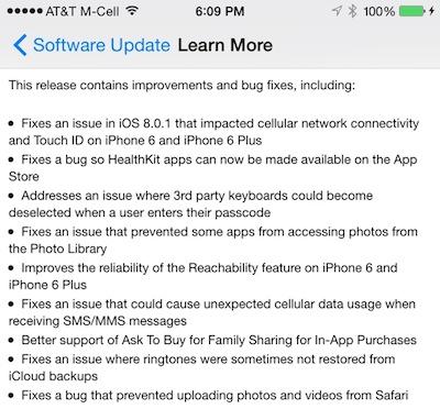 Chi tiết về bản cập nhật iOS 8.0.2
