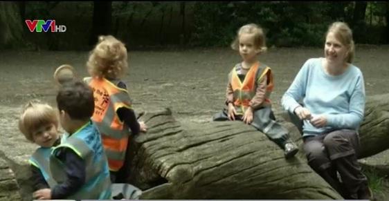 Bàn ghế của các em nhỏ chính là những khúc cây trong khu rừng.