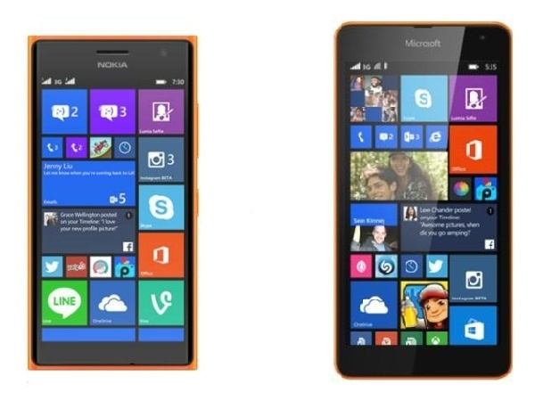 Lumia 730 (trái) có thiết kế với các cạnh vuông vức trong khi Lumia 535 (phải) có thiết kế cạnh bo tròn