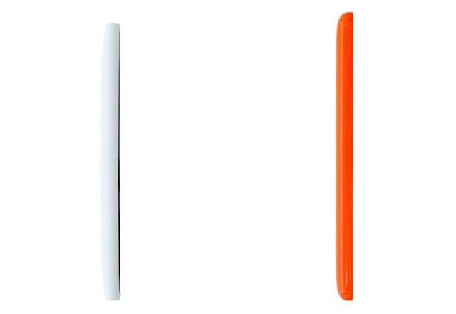So sánh chiều dài của Lumia 730 (trái) và Lumia 535 (phải)