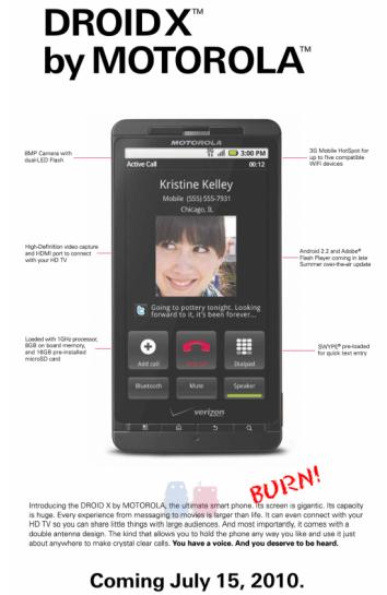 Quảng cáo Droid X của Motorola