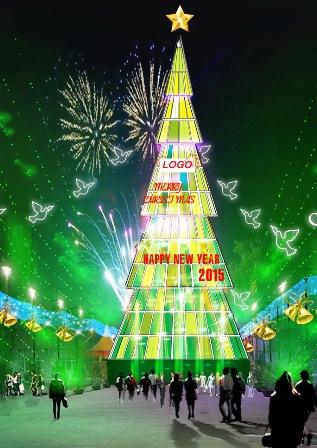 Phác thảo cây thông cao nhất Việt Nam với chiều cao 36m, đường kính 14m (Ảnh: King Star)