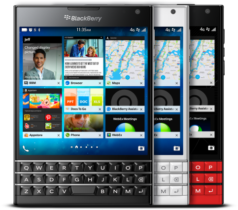 BlackBerry Passport đã được bổ sung thêm màu trắng và đỏ, bên cạnh phiên bản màu đen truyền thống
