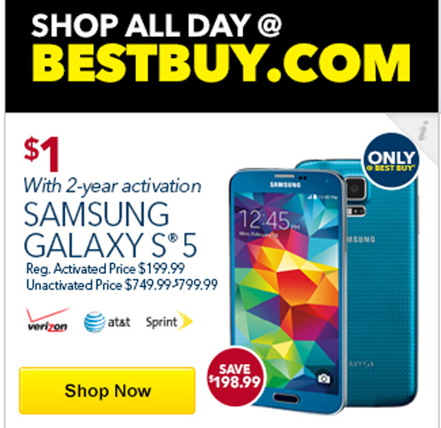 Người dùng có thể sở hữu chiếc Galaxy S5 chỉ với 1 USD tại BestBuy.com