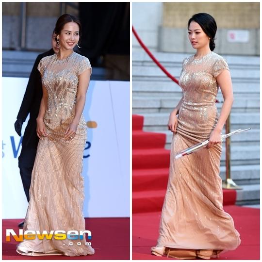 Trong khi đó, hai nữ diễn viên Chun Woo Hee và Joo Yeo Jung bị đụng váy trên thảm đỏ.