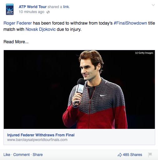 Thông tin này cũng lập tức được trang Facebook chính thức của ATP World Tour xác nhận là đúng sự thực.