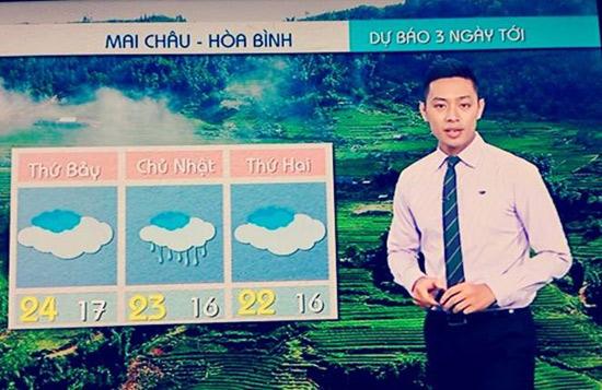 MC Thanh Tùng trong bản tin Thời tiết du lịch