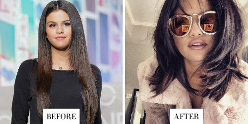 Nữ ca sĩ Selena Gomez thay đổi từ kiểu tóc mượt dài thành tóc bob nhiều lớp.