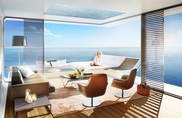 Phòng khách bố trí trên tầng nổi đẹp long lanh.