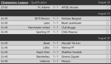 Lịch thi đấu lượt đi vòng play-off Champions League