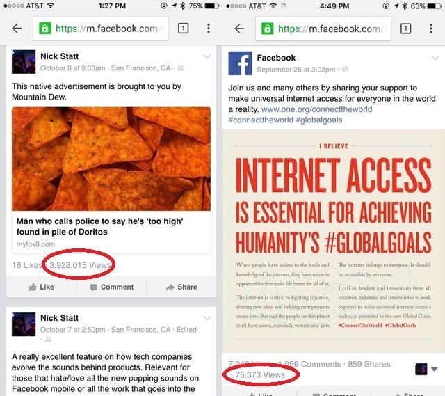 Số lượt xem của các bài chia sẻ hiển thị hiển thị trên Facebook