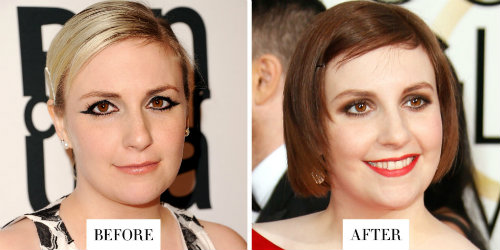 """Lena Dunham - nữ diễn viên nổi tiếng của series """"Girls"""" chọn tóc màu hạt dẻ để đón chào năm mới. Màu tóc này rất hợp với làn da trắng hồng và khuôn mặt bầu bĩnh của cô."""