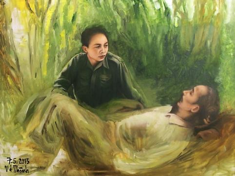 """Tranh sơn dầu """"Bác Hồ và Đại tướng Võ Nguyên Giáp trong chiến dịch Biên giới 1951""""."""