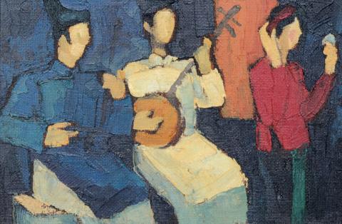 Tác phẩm Chèo của Bùi Xuân Phái tại phiên đấu giá.