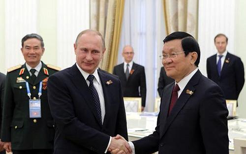 Chủ tịch nước Trương Tấn Sang tại cuộc hội đàm với Tổng thống Putin (Ảnh: Ria Novosti)