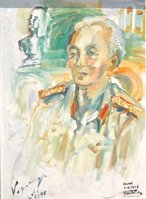 Bức chân dung do họa sĩ Văn Dương Thành vẽ, có chữ ký của Đại tướng.
