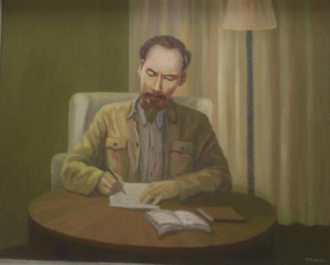 Bác Hồ viết Tuyên ngôn độc lập, tranh sơn dầu của Hoàng Hoa Mai.