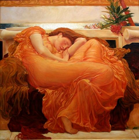 Flaming June - bức tranh rực rỡ đầy sức sống lại được họa sĩ Frederic Leighton vẽ vào những tháng cuối đời.