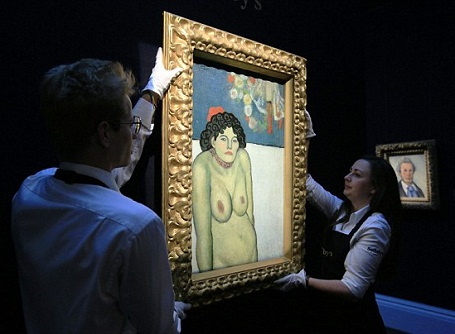 """Bức """"La Gommeuse"""" được thực hiện năm 1901, nằm trong """"thời kỳ màu xanh"""" của Picasso. Bức tranh sẽ được đem đấu giá tại New York, Mỹ, vào ngày 5/11 tới đây."""