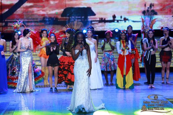 Trong đêm thi Tài năng, người đẹp của Guyana được xướng tên là người chiến thắng.