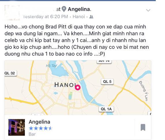 Đoạn chia sẻ của một cư dân mạng trên trang cá nhân sau khi bất ngờ gặp cặp siêu sao Angelina Jolie - Brad Pitt trên đường phố Hà Nội.