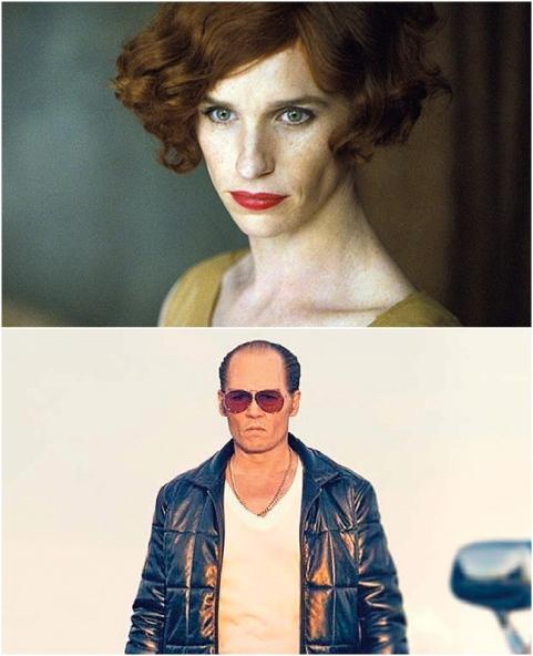 Eddie Redmayne trong The Danish Girl và Johnny Depp trong Black Mass, hai vai diễn được mong đợi tại LHP Venice 2015.