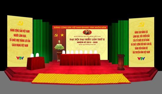 Maket sân khấu Đại hội đại biểu Đảng bộ Đài THVN lần thứ X