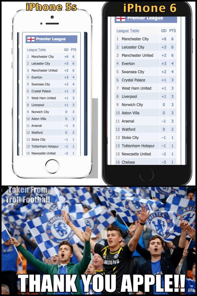 Những CĐV của Chelsea đang dùng iPhone 5s có lẽ nên chuyển qua dùng iPhone 6 để nhìn thấy đội bóng của mình ở vị trí thứ 16 mà không phải kéo lên