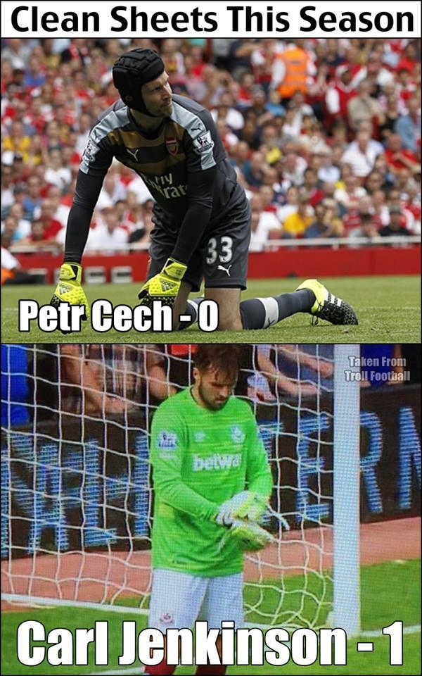 Nếu như tân binh Petr Cech của Arsenal vẫn chưa giúp Arsenal giữ sạch lưới thì cầu thủ cũ của họ là Carl Jenkinson đã bảo toàn mành lưới của West Ham trong những phút bù giờ khi sắm vai thủ môn bất đắc dĩ