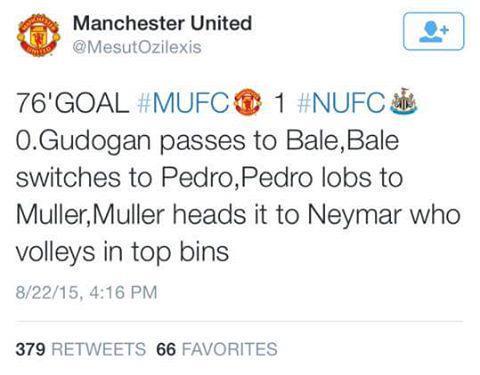 Gundogan chuyền cho Bale, Bale đưa bóng sang Pedro, Pedro tạt bổng cho Muller, Muller đánh đầu chuyền bóng, Neymar vô lê. VÀO! - đó sẽ là hình ảnh mà các CĐV Man Utd có thể được chứng kiến nếu những vụ chuyển nhượng tin đồn của Quỷ đỏ trở thành hiện thực