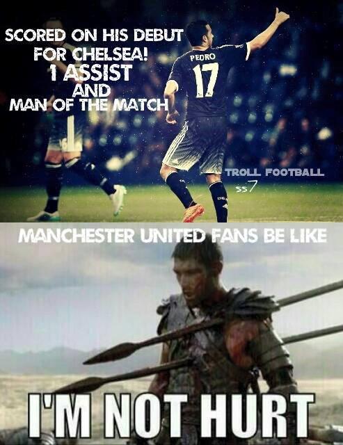 Ngay ở trận ra mắt màu áo mới, tiền đạo người Tây Ban Nha đã ghi bàn mở tỷ số và kiến tạo 1 bàn cho Costa. Và người đau lòng nhất khi chứng kiến màn toả sáng của Pedro chắc chắn sẽ là các CĐV của Man Utd