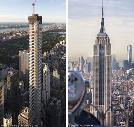 Với độ cao 425m, tòa nhà 432 Park Avenue (trái) nằm ở khu Manhattan còn cao hơn tòa nhà Empire State Building (phải) - một công trình cũng được xếp vào hàng biểu tượng của thành phố New York.