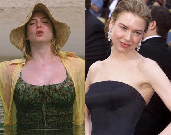 """Renee zellweger tăng gần 13kg cho vai diễn trong """"Bridget Jones's Diary"""" vào năm 2001 và 2004."""