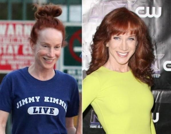 MC - diễn viên hài Kathy Griffin trông cũng khác xa so với hình ảnh trên truyền hình và màn ảnh.