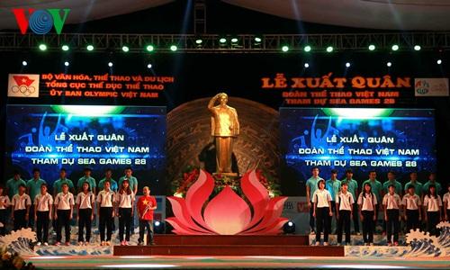 Lễ xuất quân năm nay trùng với ngày kỷ niệm 125 năm ngày sinh của Chủ tịch Hồ Chí Minh kính yêu, giúp cho các VĐV có thêm quyết tâm trước khi lên đường.