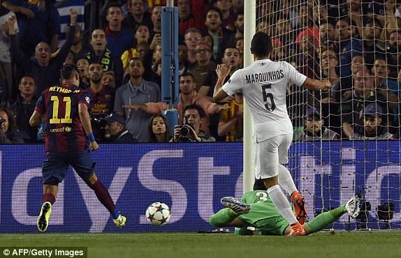 Sau khoảng 10 phút đầu trận, Barcelona bắt đầu tăng tốc. Và ngay lập tức, họ đã có được bàn thắng mở tỷ số nhờ công của Neymar.