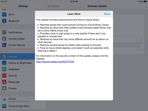 thông tin chi tiết về những cập nhật trên phiên bản iOS 8.4.1