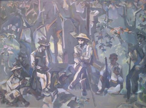 Dừng chân giữa rừng, sơn dầu của Nguyễn Thế Hữu.