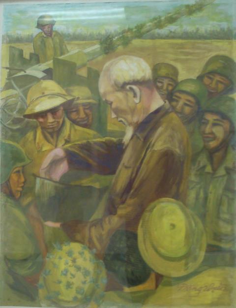 Thăm đơn vị pháo phòng không, tác phẩm của Đặng Quang Hiền.