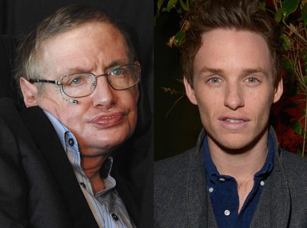 Gần đây nhất, nam diễn viên trẻ Eddie Redmayne đã giành giải Oscar với vai Stephen Hawking trong bộ phim The Theory of Everything (ảnh: Getty)