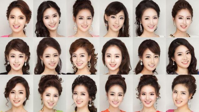 Các khuôn mặt giống nhau như tượng tạc của các thí sinh tham dự cuộc thi Hoa hậu Hàn Quốc được cư dân mạng đăng tải