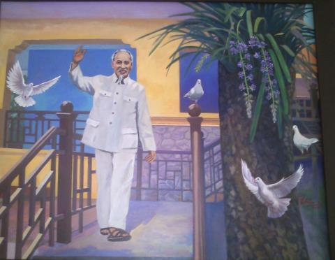 Đến với Bác ở K9, sơn dầu của Nguyễn Văn Chiến.