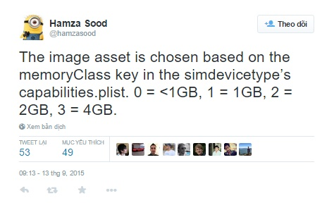 Hamza Sood giải thích cách khám phá thông số RAM của iPhone 6S, iPhone 6S Plus và iPad Pro