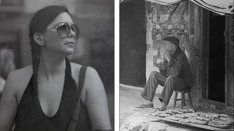 Bạn gái của nghệ sỹ Cadden (trái) và hình ảnh một ông lão người Trung Quốc đang nghỉ ngơi ngoài thềm nhà.