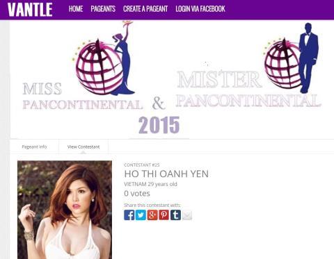 Oanh Yến đoạt vương miện nhưng không nhận bất kỳ phiếu bầu nào trên trang web của của cuộc thi
