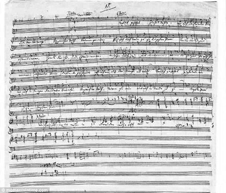 Những nốt nhạc viết tay này từng được chính nhà soạn nhạc Richard Wagner viết ra. Giờ đây, bản nhạc này được đem rao bán với giá 3,6 triệu đô la.