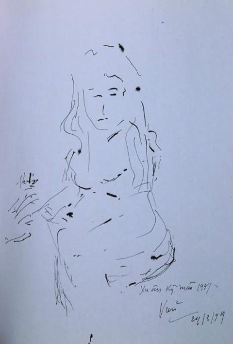 Bức ký họa của Đại tướng Võ Nguyên Giáp vẽ họa sĩ Văn Dương Thành mùa Xuân năm 1999.