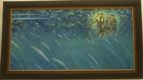 Rừng núi xưa vẫn in bóng Bác, tranh sơn dầu của Nguyễn Công Mỹ.