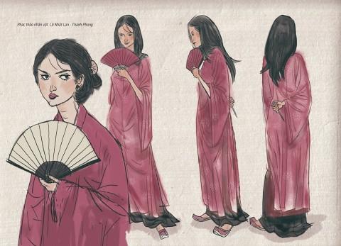 Phác thảo nhân vật Lê Nhật Lan do Thành Phong vẽ trong truyện tranh Long Thần Tướng.